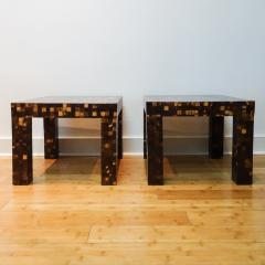 William Piedrahita Pair of Coconut Shell Inlaid side tables - 1038688