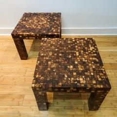 William Piedrahita Pair of Coconut Shell Inlaid side tables - 1038690
