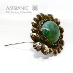 William Spratling Rare William Spratling Brooch Sterling Silver with Mexican Cabochon Jade - 395348