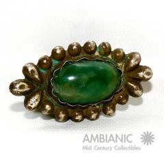 William Spratling Rare William Spratling Brooch Sterling Silver with Mexican Cabochon Jade - 395350