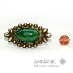 William Spratling Rare William Spratling Brooch Sterling Silver with Mexican Cabochon Jade - 395354