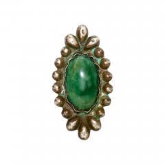 William Spratling Rare William Spratling Brooch Sterling Silver with Mexican Cabochon Jade - 397310