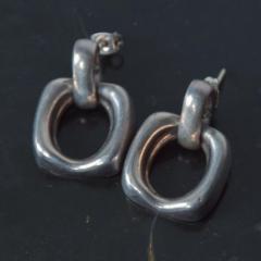 William Spratling Vintage Modern Mexico Sterling Silver 925 Dangle Earrings Taxco Designer - 1265208