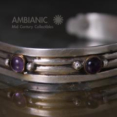 William Spratling William Spratling Cuff Bracelet Sterling Brass Amethyst - 203732