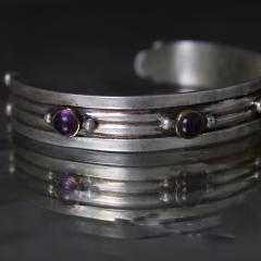 William Spratling William Spratling Cuff Bracelet Sterling Sterling Brass Amethyst 1940s Mexico - 1698145