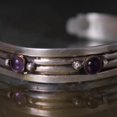 William Spratling William Spratling Cuff Bracelet Sterling Sterling Brass Amethyst 1940s Mexico - 1698146