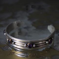 William Spratling William Spratling Cuff Bracelet Sterling Sterling Brass Amethyst 1940s Mexico - 1698150
