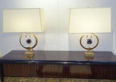 Willy Daro An Exceptional Pair of Table Lamps in Brass and Amethyst Quartz by Willy Daro - 256049