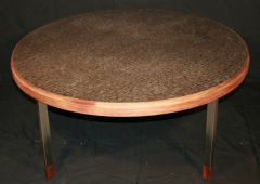 Willy Daro Etched steel circular coffee table - 769681