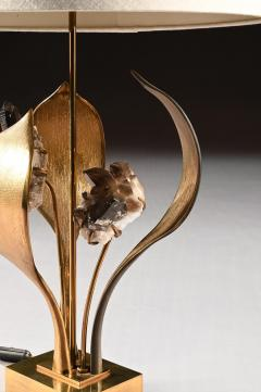 Willy Daro IMPRESSIVE 1970 GILT BRONZE AND QUARTZ LAMP BY WILLY DARO - 2010431