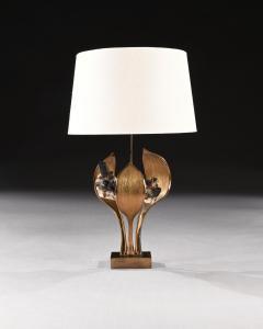 Willy Daro IMPRESSIVE 1970 GILT BRONZE AND QUARTZ LAMP BY WILLY DARO - 2010440