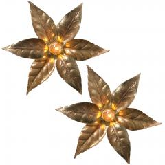 Willy Daro One of Five of Willy Daro Style Brass Flowers Wall Lights - 991400