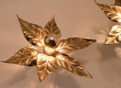 Willy Daro One of Five of Willy Daro Style Brass Flowers Wall Lights - 1337025