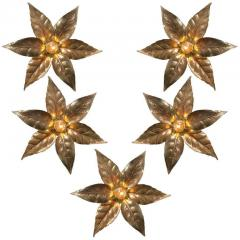 Willy Daro One of Five of Willy Daro Style Brass Flowers Wall Lights - 1337028