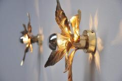 Willy Daro One of Five of Willy Daro Style Brass Flowers Wall Lights - 1337032