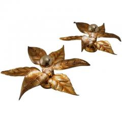 Willy Daro One of Five of Willy Daro Style Brass Flowers Wall Lights - 1337039