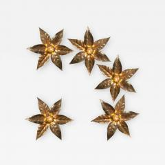 Willy Daro One of Five of Willy Daro Style Brass Flowers Wall Lights - 1344386