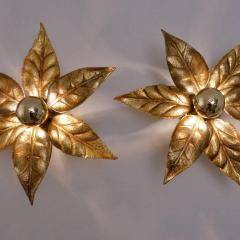 Willy Daro One of the Two Willy Daro Style Brass Flowers Wall Lights by Massive Lighting - 1337019