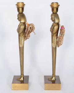 Willy Daro Pair of Bronze Egyptian lamps by Willy Daro - 853823