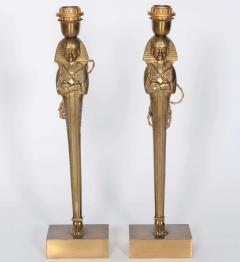 Willy Daro Pair of Bronze Egyptian lamps by Willy Daro - 853825