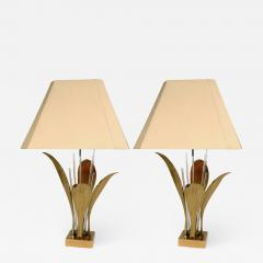 Willy Daro Pair of Rare Table Lamps leaf bronze by Willy Daro - 770604