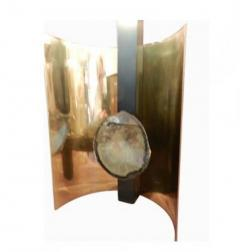 Willy Daro Pair of Table Lamps in Brass Steel and Agate in the Style of Willy Daro - 247635