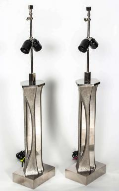 Willy Daro Pair of Table Lamps in silver bronze by Willy Daro - 2135525