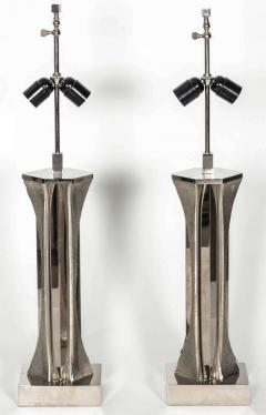 Willy Daro Pair of Table Lamps in silver bronze by Willy Daro - 2135531