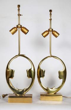 Willy Daro Pair of sculptural bronze lampsby Willy Daro - 1208209