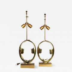 Willy Daro Pair of sculptural bronze lampsby Willy Daro - 1215635