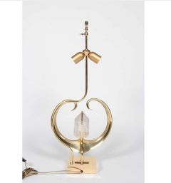 Willy Daro Pair of table lamps in bronze heart and cristal de roche by Willy Daro - 778490