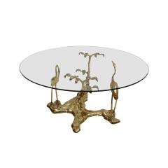 Willy Daro Willy Daro 1970s French Sculptural Brass and Glass Coffee Table - 2027413