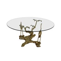 Willy Daro Willy Daro 1970s French Sculptural Brass and Glass Coffee Table - 2027414