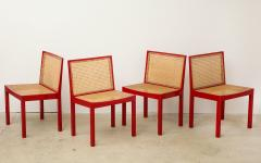 Willy Guhl Set of Four Red Lacquered Bankshuhl Chairs by Willy Guhl for Stendig - 660625
