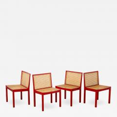 Willy Guhl Set of Four Red Lacquered Bankshuhl Chairs by Willy Guhl for Stendig - 661486