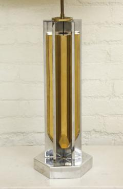 Willy Rizzo 1970s Lamp of Cast Brass and Nickel by Willy Rizzo - 271781