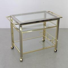 Willy Rizzo Bar Cart in Chrome and Brass attributed to Willy Rizzo - 538745