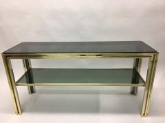 Willy Rizzo Italian Mid Century Modern Brass and Chrome Console Sofa Table by Willy Rizzo - 1787325