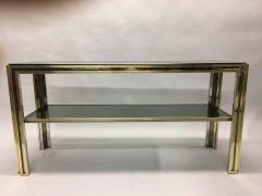 Willy Rizzo Italian Mid Century Modern Brass and Chrome Console Sofa Table by Willy Rizzo - 1787326