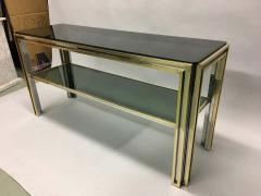 Willy Rizzo Italian Mid Century Modern Brass and Chrome Console Sofa Table by Willy Rizzo - 1787327