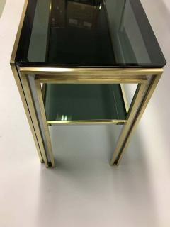 Willy Rizzo Italian Mid Century Modern Brass and Chrome Console Sofa Table by Willy Rizzo - 1787328