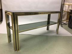 Willy Rizzo Italian Mid Century Modern Brass and Chrome Console Sofa Table by Willy Rizzo - 1787338