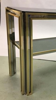 Willy Rizzo Italian Mid Century Modern Brass and Chrome Console Sofa Table by Willy Rizzo - 1787340