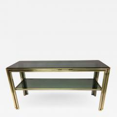 Willy Rizzo Italian Mid Century Modern Brass and Chrome Console Sofa Table by Willy Rizzo - 1791339