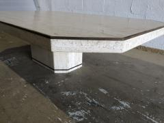 Willy Rizzo Italian Modern Travertine Marble Coffee Table for Jean Charles Willy Rizzo - 1464002