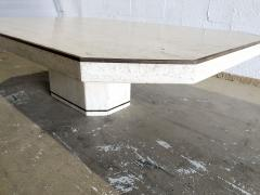 Willy Rizzo Italian Modern Travertine Marble Coffee Table for Jean Charles Willy Rizzo - 1464004