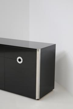 Willy Rizzo Italian sideboard by Willy Rizzo for Mario Sabot in black wood and steel 1970s - 1574754