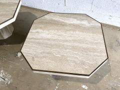 Willy Rizzo Pair Italian Modern Travertine Marble Low Tables for Jean Charles Willy Rizzo - 1464458