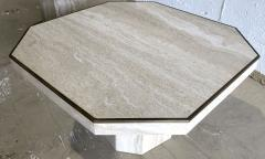 Willy Rizzo Pair Italian Modern Travertine Marble Low Tables for Jean Charles Willy Rizzo - 1464460