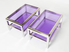 Willy Rizzo Pair of Two Tier brass chrome end tables Willy Rizzo Flaminia 1970s - 1919352